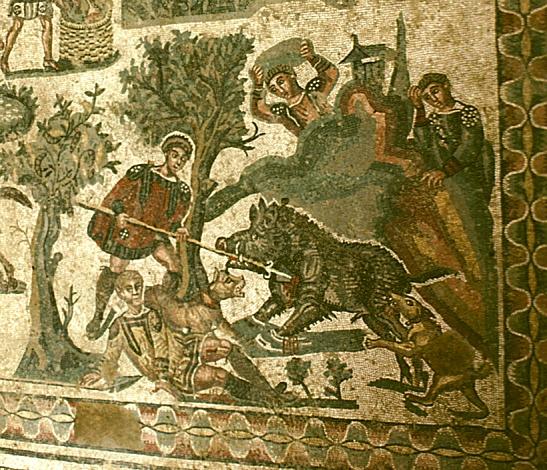 images of roman villa and mosaics  piazza armerina  sicily  early 4th century  c  e   digital