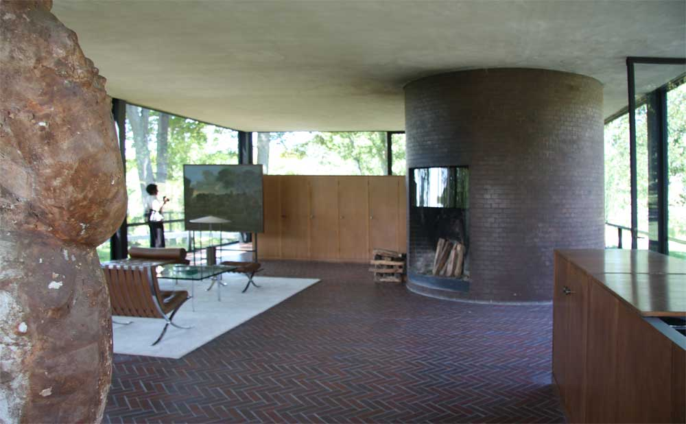 The living area with furniture designed by Mies van der Rohe
