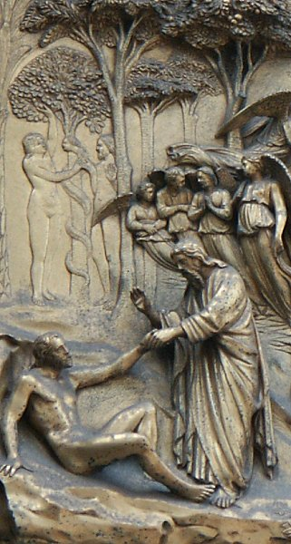 Genesis: Creation of Adam (Temptation in the background); Creation of Eve & Images of the Gates of Paradise by Ghiberti Florence Baptistry ... Pezcame.Com