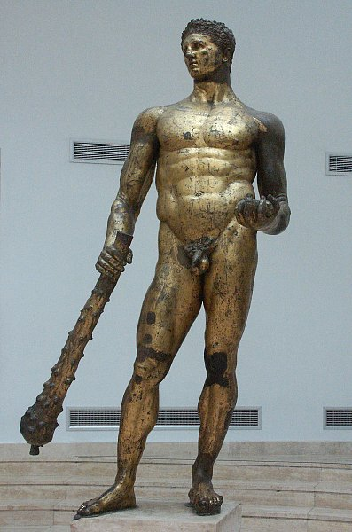 images of the gilded bronze statue of hercules in the capitoline museum