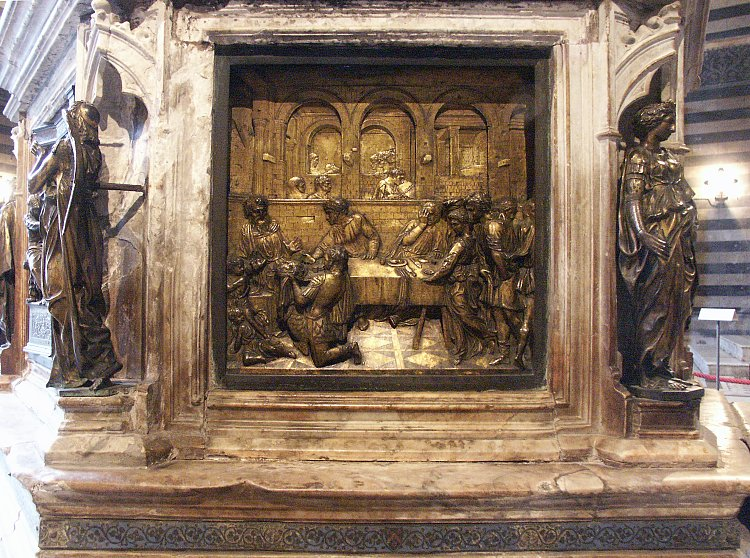 an analysis of donatellos the feast of the herod Donatello feast of herod siena, italy gilded bronze 1423-27-donatello's feast of herod marked the advent of rationalized perspective space in renaissance relief sculpture.