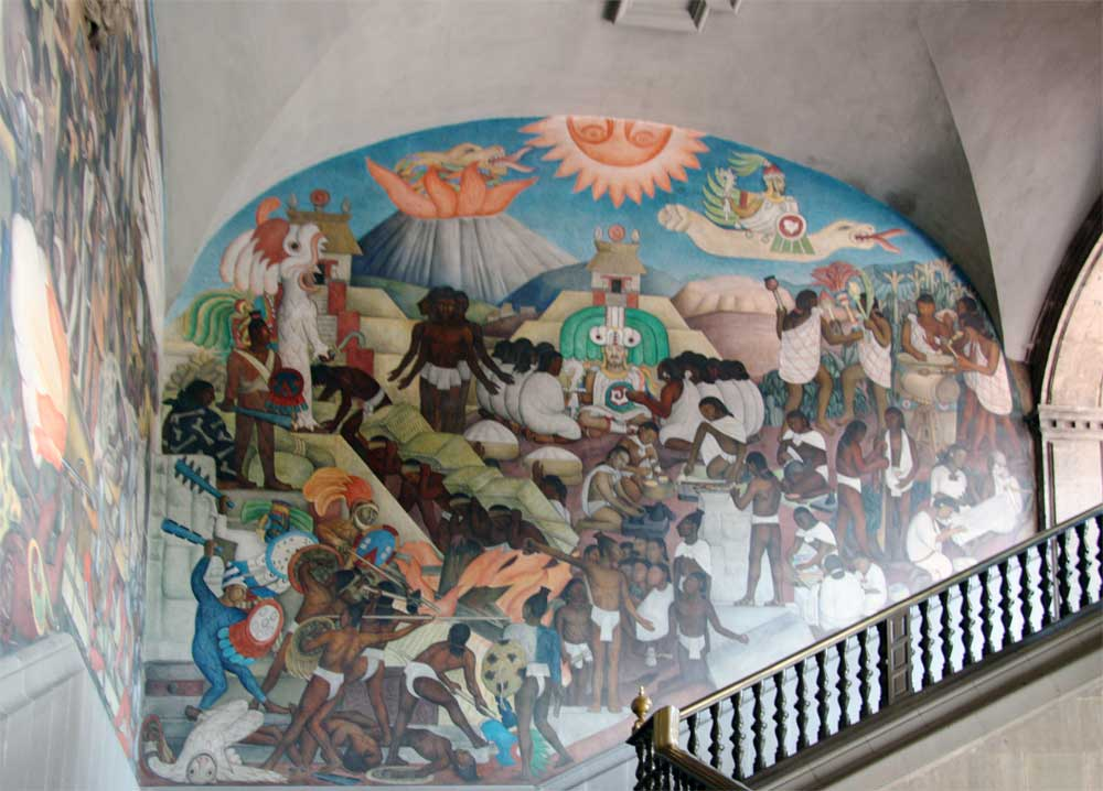 Images of murals by diego rivera in the palacio nacional for Mural quetzalcoatl