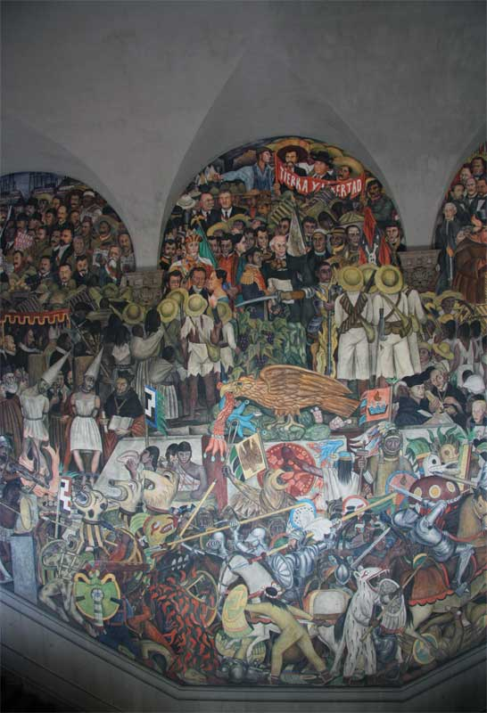 images of murals by diego rivera in the palacio nacional