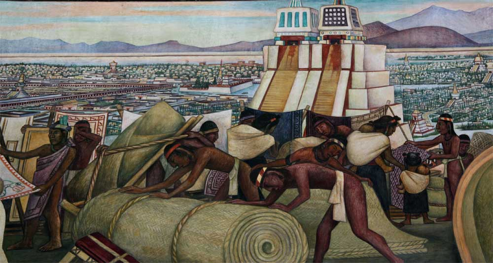 Images of murals by diego rivera in the palacio nacional for Aztec mural painting