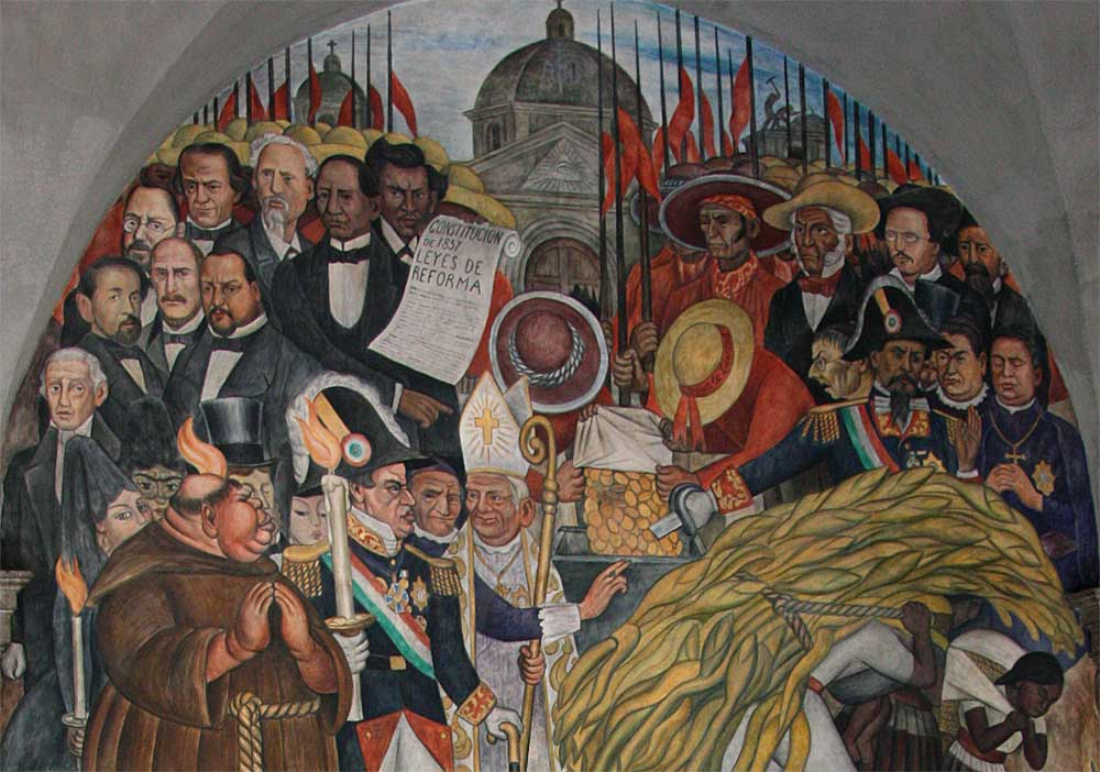 Images of murals by diego rivera in the palacio nacional for Benito juarez mural