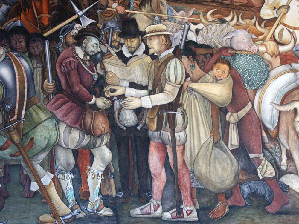 Malinche assisting and obscured by Cortes in a painting by Diego Rivera displayed at the Palacio Nacional de Mexico.