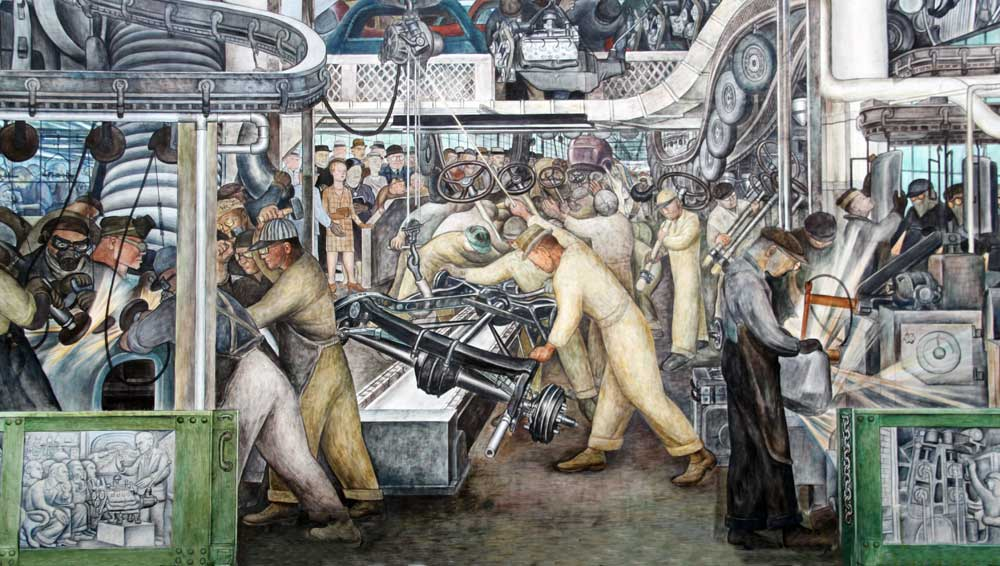 images of murals by diego rivera at the detroit institute