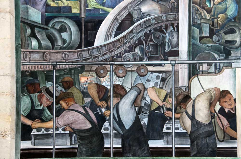 Images of murals by diego rivera at the detroit institute for Mural work using m seal