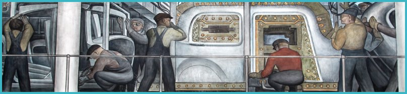 Blockbuster diego rivera frida kahlo show in where else for Diego rivera ford mural