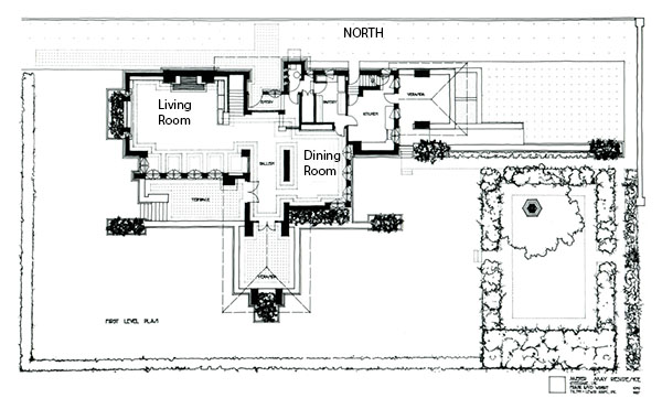 Images of the meyer may house by frank lloyd wright for Frank lloyd wright house plans design