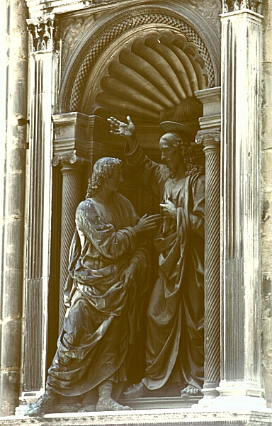 images of christ and st  thomas by verrocchio  1467